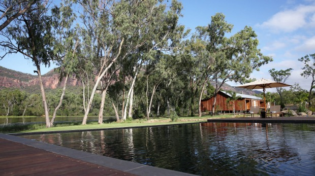 The main pavilion is the focal point of the lodge and overlooks the infinity pool, weir and Mount Mulligan.