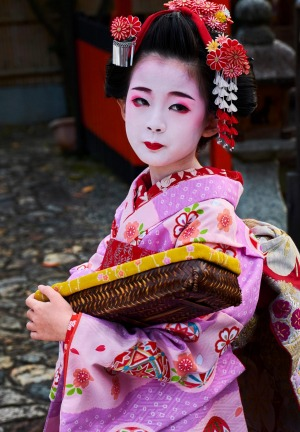 A young maiko in Kyoto.