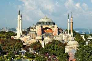 Hagia Sophia features superb Byzantine mosaics in gold, dark green and blue.