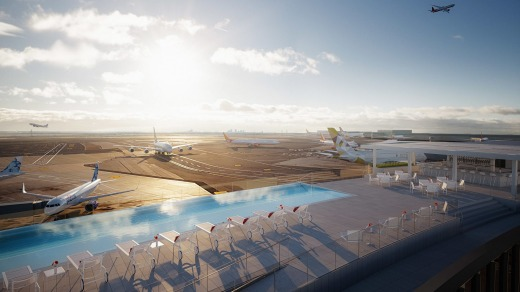 "On top of one of the towers is a new swimming pool with an ""infinity"" edge that looks out on the tarmac and its ..."