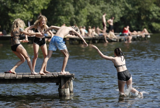 Young people hit the lake near Vilnius, Lithuania as a heatwave hits.
