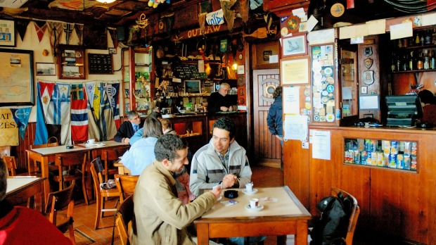 Sailing memorabilia covers the walls and ceiling of the famous Peter's Cafe Sport in Horta.