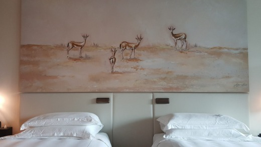 A room at Saadiyat Rotana with paintings of Abu Dhabi's signature animal, the oryx.