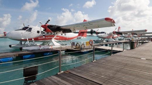 Trans Maldivian Airways seaplanes at Male airport, Male, Maldives.