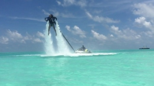 A little bit James Bond: Soaring above the water with the help of a jet pack.