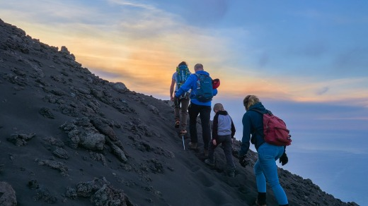Hiking up the Stromboli volcano in the Aeolian islands, Sicily.