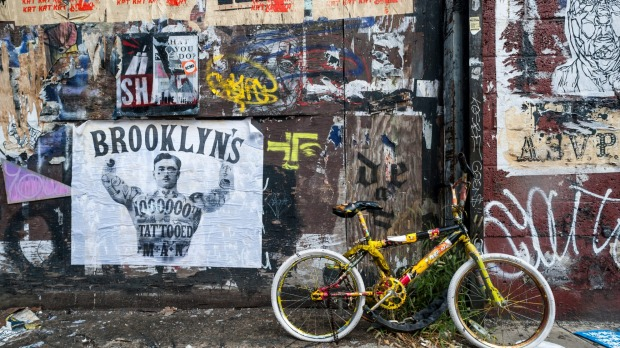 Graffiti covered wall in west Williamsburg, Brooklyn. Williamsburg has become known as an arts and culture mecca in New ...