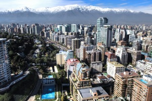 The skyline of Santiago, Chile.