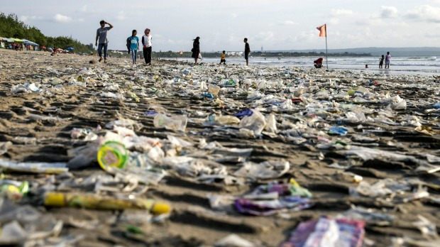 Rubbish on Kuta Beach. Very little of Bali's waste is recycled, with much of it ending up in the ocean.