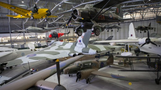Some of the aircrafts on display at the Imperial War Museum Duxford in Cambridgeshire.