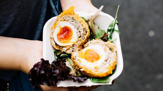 Scotch Eggs for sale at a food market in London.