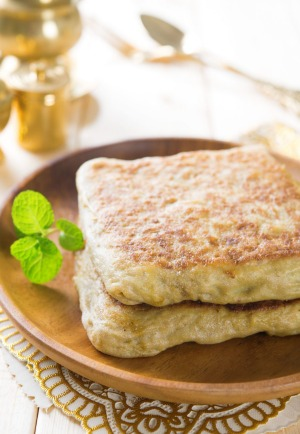 Martabak or murtabak, also mutabbaq, is a stuffed pancake or pan-fried bread which is commonly found in Saudi Arabia.