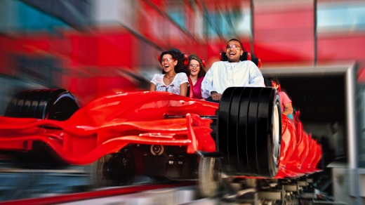 The world's fastest roller coaster, Formula Rossa, at Ferrari World, Abu Dhabi.