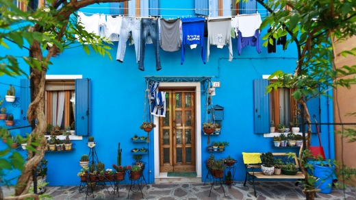 Laundry day at one of the colourful houses on Burano  island.