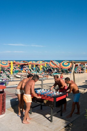 Table soccer on the beachfront promenade at Lido de Jesolo, Venetian Riviera.