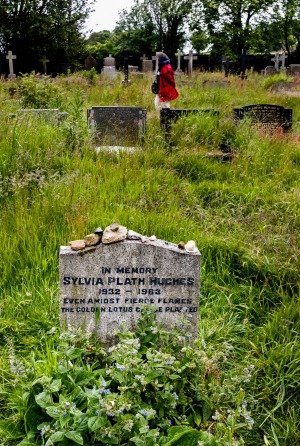 Pilgrims to the Sylvia Plath's grave keep blacking out the word Hughes, having never forgiven.