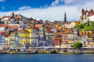 Porto's old town skyline from across the Douro River.