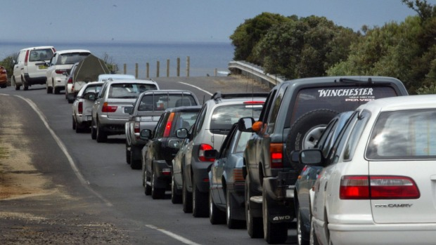 Across-the-board 10am check-out times in regional Australia result in traffic jams as everyone tries to leave town at ...