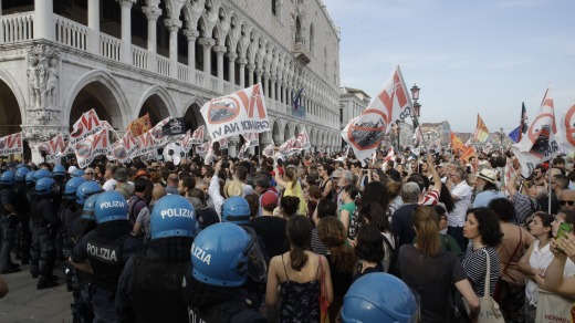 Demonstrators gather near St. Mark's Square during a protest against cruise ships last month.