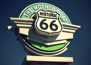 Historic Route 66 sign in California.