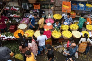 The flower market at Dadar Mumbai.
