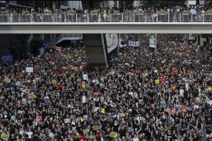 Protesters take part in a rally on Monday, July 1, 2019, in Hong Kong. Travellers are advised to avoid the protests.