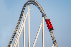 G2X8EB Formula Rossa, the fastest roller coaster in the world in Ferrari World amusement park at Yas Island - Abu Dhabi ...