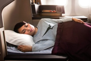 Qantas began offering business class travellers pyjamas in the late 1990s.
