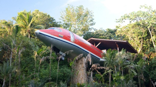 Costa Rica's Costa Verde, where guests sleep inside a 1965 Boeing 727 transplanted into the forest canopy.