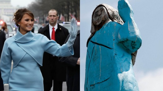 Although the statue's face is rough-hewn and unrecognisable, the figure is shown clothed in the pale blue wraparound ...