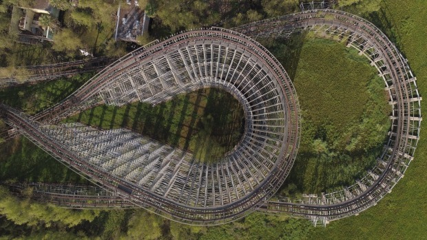 The roller coaster of the abandoned Six Flags amusement park.