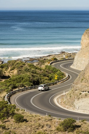 The Great Ocean Road twists and turns just outside the township of Lorne.