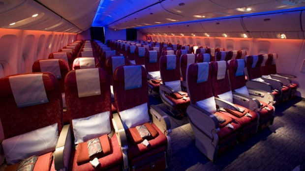 Qatar's economy cabin on the Boeing 787 Dreamliner.