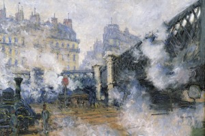 The Pont de l'Europe, Gare Saint-Lazare, 1877 (oil on canvas), Monet, Claude (1840-1926).