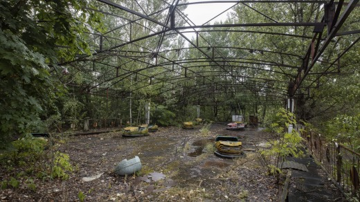 Tourists have been jumping into the bumper cars at an abandoned fun park in Pripyat to take selfies.