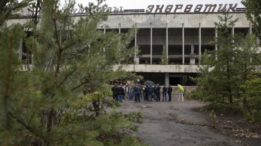 Ukrainian President Volodymyr Zelenskiy and other officials visit the abandoned city.