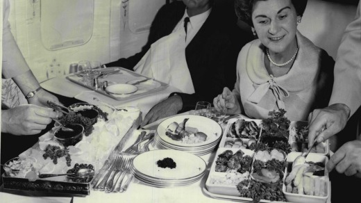 A more civilised age: Qantas meal service in 1967.