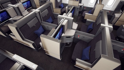 The new business class cabin will feature front-and-rear facing seats.