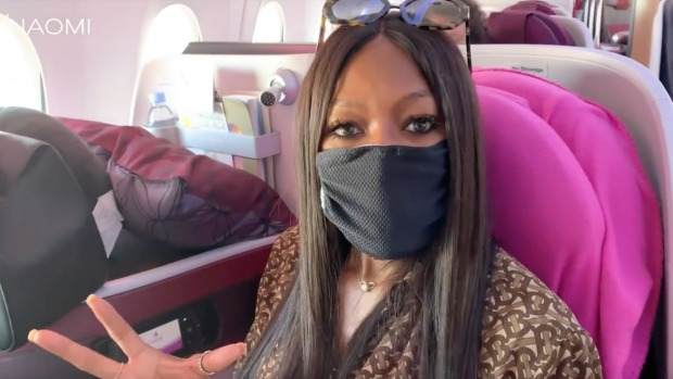 Naomi Campbell sports her anti-air pollution facemask.