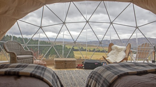 Valley Views Glamping near Kurow offers views of the Waitaki Valley.