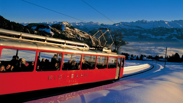 Riding the train from Vitznau to the summit of RigI.