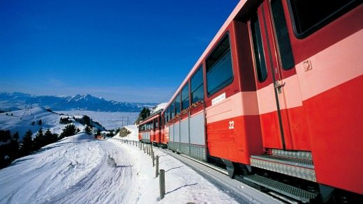 Riding the spectacular rack railway up Rigi from Vitznau.