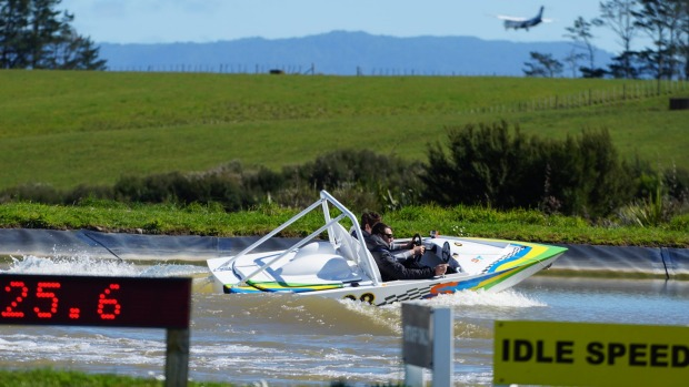 You drive the jetboat at Auckland's Superthriller Jetsprint.