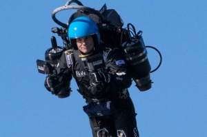 David Mayman, CEO of Jetpack Aviation demonstrates his jetpack in Sydney last year. Airline pilots in the US have ...