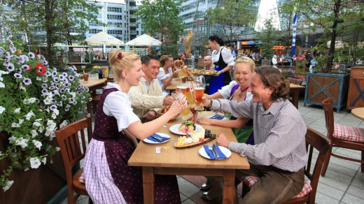 The Airbrau beer garden at Munich Airport.