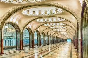 Mayakovskaya subway station in Moscow, Russia: A fine example of Stalinist architecture and one of the most famous Metro ...