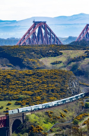 Caledonian Sleeper nears Forth Rail Bridge.