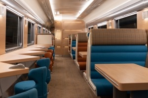 The Club Car in the Caledonian Sleeper, an overnight train service from London to Glasgow.