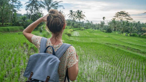 A backpacker in Bali.
