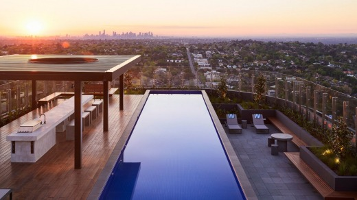 There are impressive sunset views to be had at The Chen's heated rooftop pool in Box Hill, Melbourne.